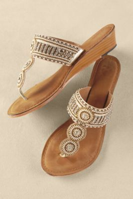 Palm Beach Sandals - Wedge Sandals, Beaded Wedge Sandals, Jeweled Sandals, Rhinestone Sandals | Soft Surroundings Outlet