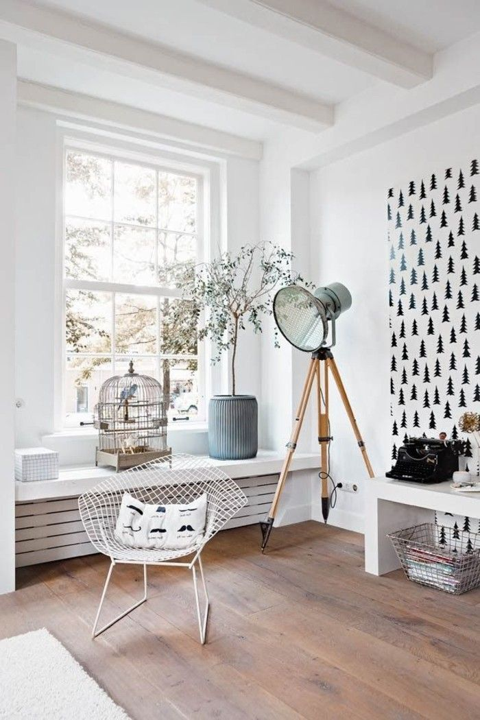 White wall color recreation area designing cool lamp accent wall
