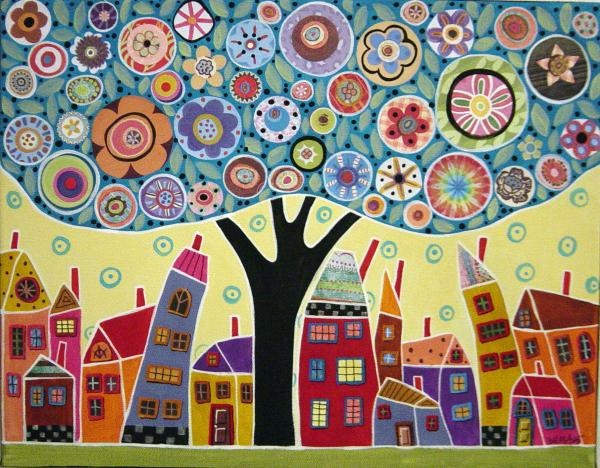 Mixed Media Collage by Karla Gerard #houses. I'm inspired to try something like this. I'd change the houses to Mountains on one side and in the tree's circles perhaps have poems