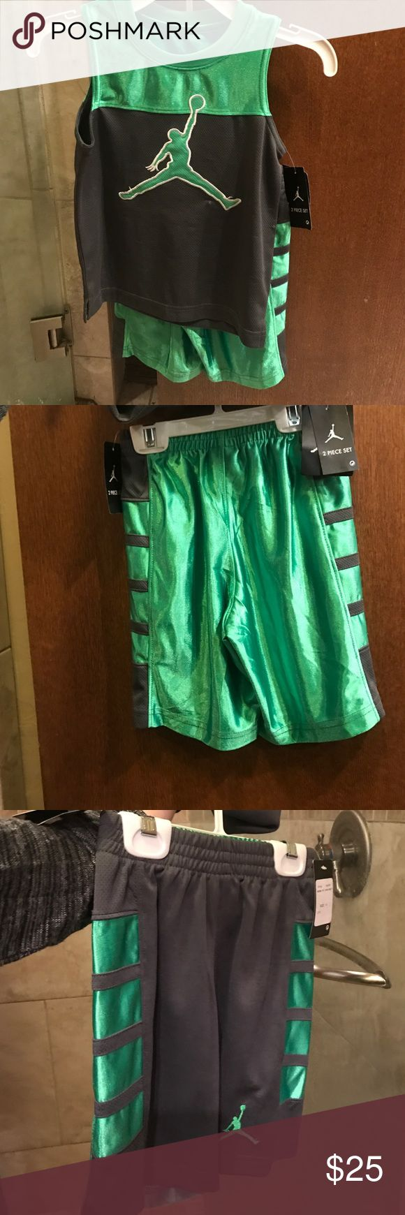 Jordan outfit Green boys Jordan outfit very cute new with tags size 4T !!! Jordan Matching Sets
