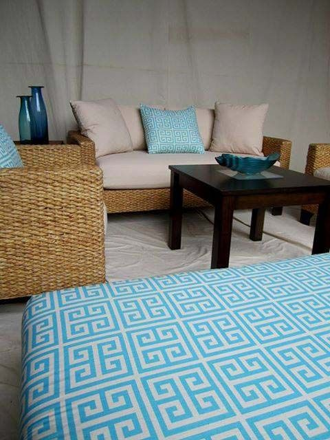 Having a party outside? Check out this nice couch and chairs. It can be for indoor or outdoor.