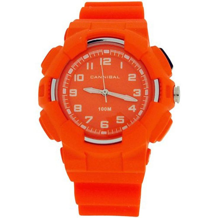 Cannibal Active Boys Orang Dial EL-Backlight Orange Plastic Strap Watch CJ272-26. This unique, sturdy, and trendy kids watch by Cannibal from the Active range is a high functioning timepiece which will serve any boy well. This watch is an ideal gift for him. Product Features: * Quartz movement. * Orange dial. * Hour, minute and second hands, hour and minute hands are luminous. * Backlight * Stainless steel case back. * 10ATM water resistant. Strap Measurements: This watch fastens with a...