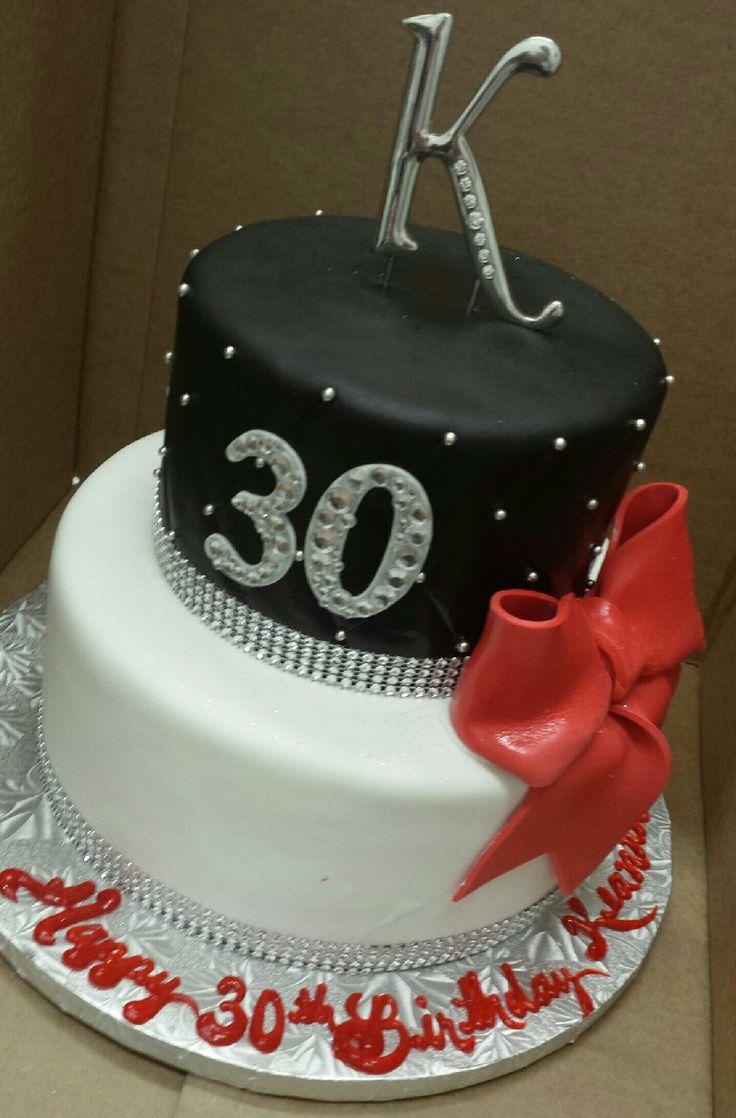 Calumet Bakery Fondant Specialty Cake Black/Red/White/Rhinestonestrim