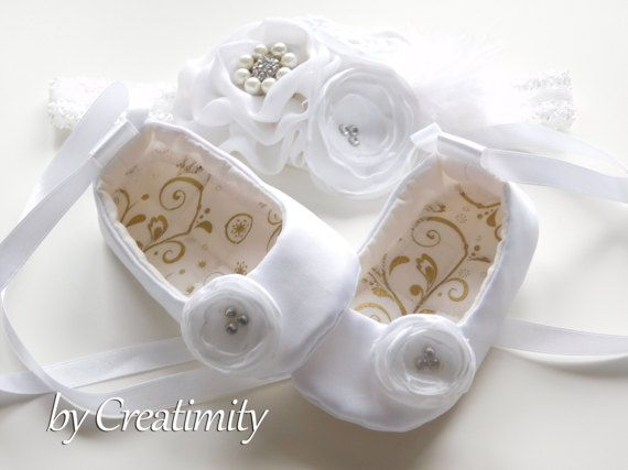 White Flower Girl Shoes Girl Flats Toddler Shoes Christening