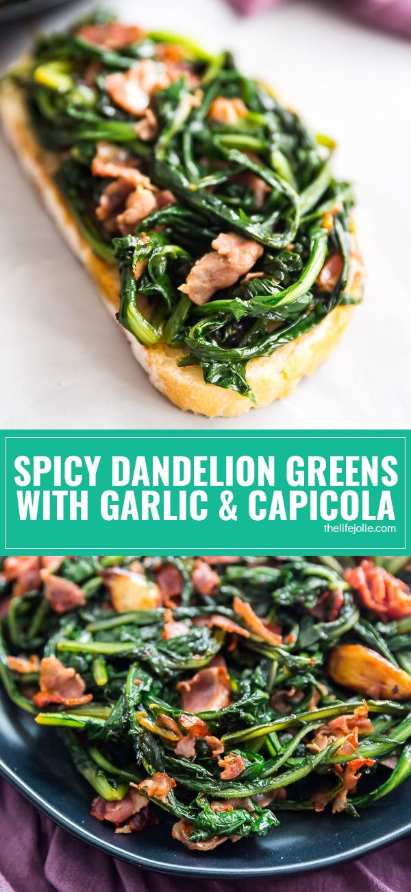 My Grandma's easy and delicious Spicy Dandelion Greens with Garlic and Capicola recipe is so good you'll forget you're eating healthy food! This is a simple method for how to cook this delicious side dish! via @thelifejolie