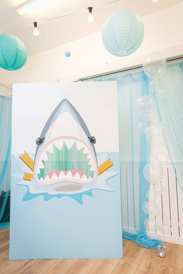Shark party photo backdrop at Sharks and Mermaids Party, The White Loft, Hong…