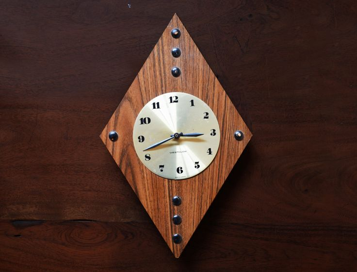 Mid Century Modern Veneer Wood and Brass Diamond Clock; Westclox made in Canada - Vintage Battery Operated by Trashtiques on Etsy https://www.etsy.com/ca/listing/483178779/mid-century-modern-veneer-wood-and-brass