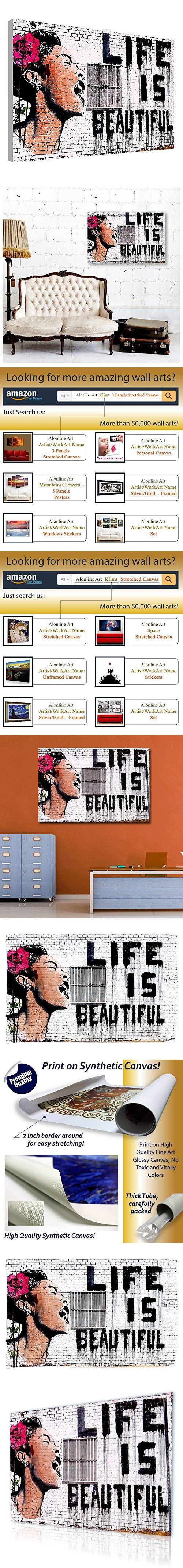 "Alonline Art - Life Is Beautiful Banksy PRINT On CANVAS (Synthetic, UNFRAMED Unmounted) 30""x20"" - 76x51cm Oil Paints Artwork Oil Painting Print Oil Painting Printed On Canvas Oil Paintings Prints"