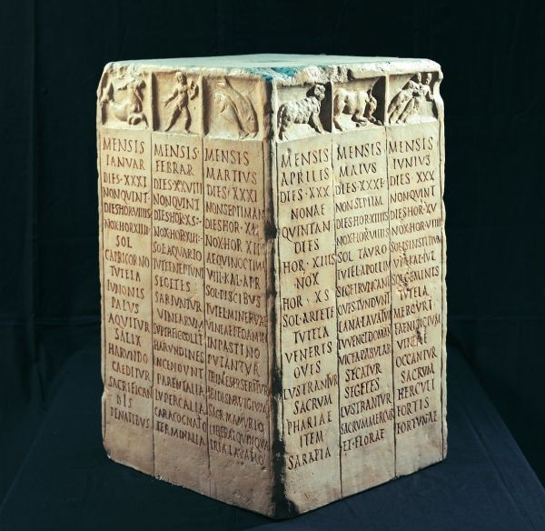 Roman farmers Calendar. Each side bears the names of three months of the year. [600x584]