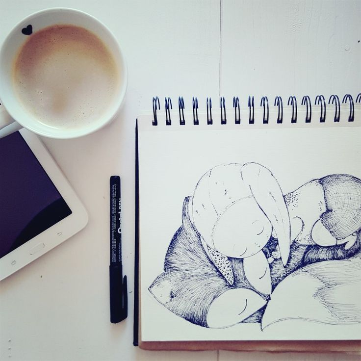 Mummy's Time- coffee and sketchbook ;) this time baby nad the fox,  see more on Pooky's World instagram