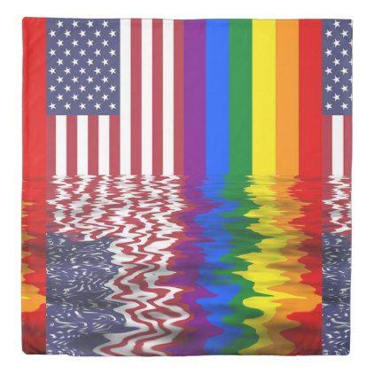 #Rainbow American Flag REflection Duvet Cover - customized designs custom gift ideas