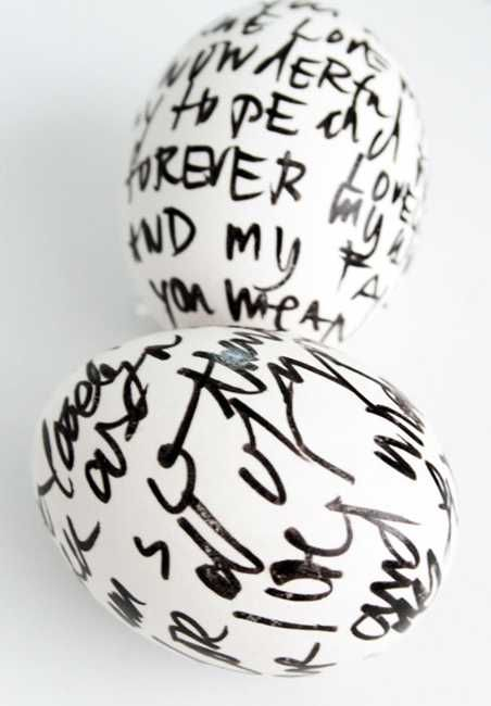 words on white easter eggs