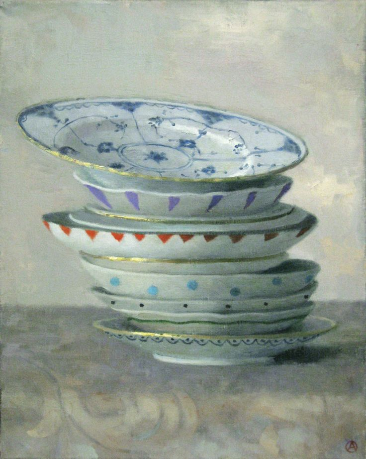 Tower of Plates | From a unique collection of still-life paintings at https://www.1stdibs.com/art/paintings/still-life-paintings/