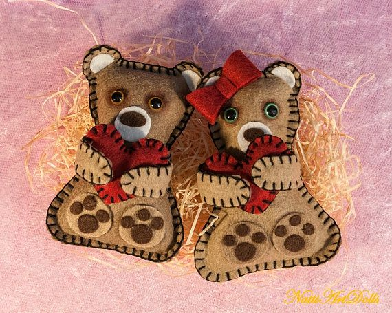 Interior Toy Toys from Felt  Soft Toy Couple of Bears