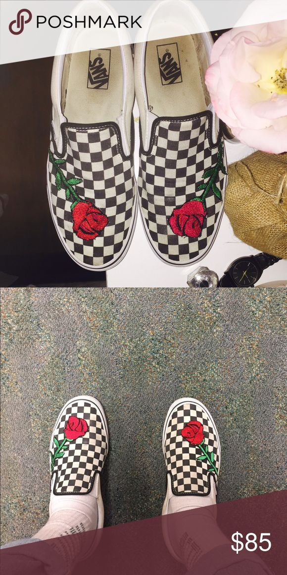 Custom Rose Embroidered Checkered Vans Custom Rose Embroidered Checkered Vans. I truly love how these came out. Get yourself a pair to stand out from all other Vans. The shoes shown are not for sale. Only to Show Rose design on the shoe. These will be new with tags if bought. Message for more details. Vans Shoes Sneakers