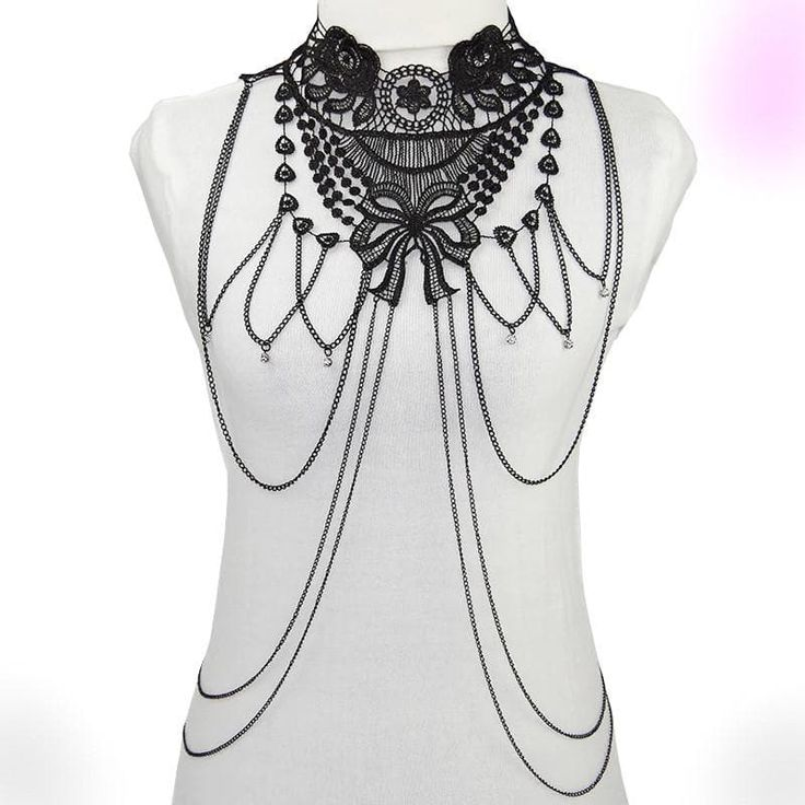 Black lace body harness necklace unique statement necklace in black steampunk wedding Designer necklace shabby Chic