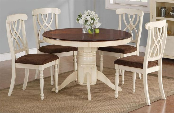 42 Quot Lander Oak Buttermilk Round Kitchen Table Set In 2019
