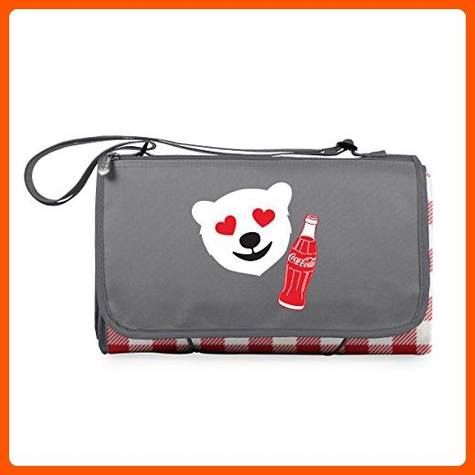 Picnic Time Coca-Cola 'Outdoor Picnic Blanket Tote' Check with Emoji Design, Red/Gray - Fun stuff and gift ideas (*Amazon Partner-Link)