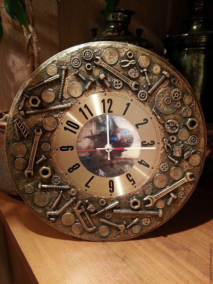 Купить Настенные часы в стиле стимпанк - золотой, часы, часы интерьерные, часы ручной работы
