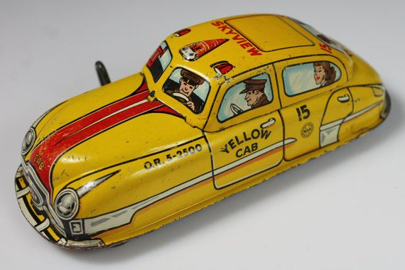 Marx Yellow Cab Tin Litho Windup by RetroramaStudios on Etsy, $84.95