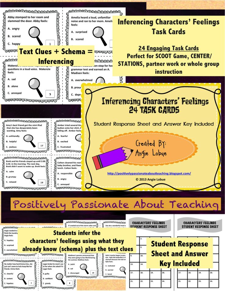 Inferencing Characters' Feelings Task Cards- Build your students' higher-level reading skills with these 24 Task Cards. Student Response Sheet and Answer Key included #taskcards #inferencing www.facebook.com/positivelypassionateaboutteaching