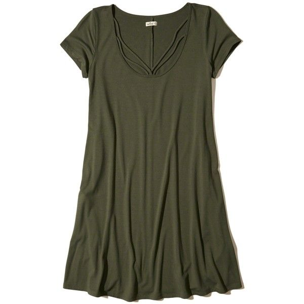 Hollister Strappy Swing T-Shirt Dress ($20) ❤ liked on Polyvore featuring dresses, olive, olive green t shirt dress, army green dress, olive green dress, scoop neck t shirt dress and scoop-neck dresses