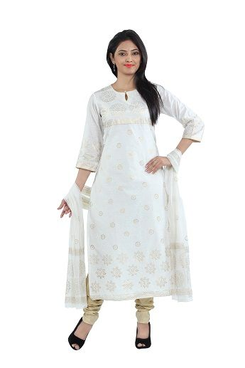 Exude unmatchable elegance by wearing this suit set by SEVENEAST. This set includes a 3/4th sleeved kurta, churidar and a printed dupatta. The kurta features a fully golden printed kurts and printed sleeves. This whole set will keep you extremely comfortable, as it is fashioned from Chanderi fabric. It is an ideal pick to flaunt on a casual day...http://www.seveneast.in/index.php?route=product/product&path=79&product_id=154