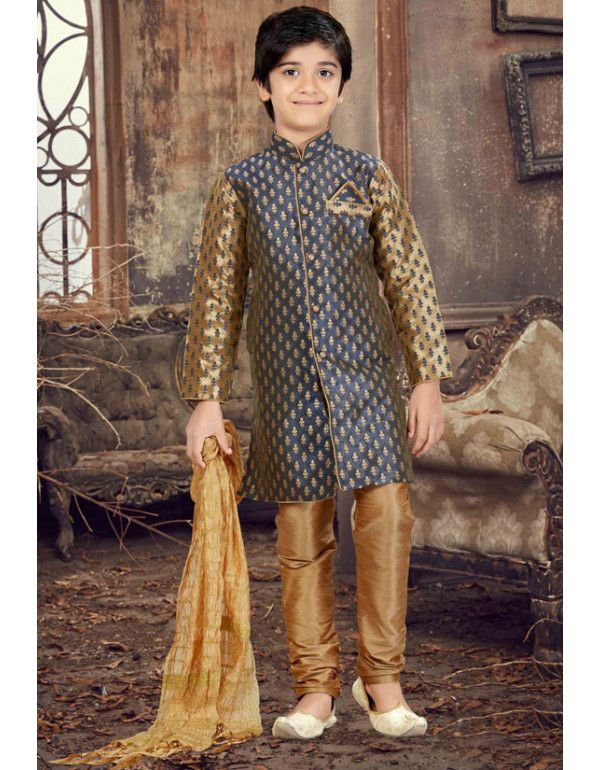 3dcbe4aefb Slate Grey and Golden Kids Sherwani in 2019 | Kids Collection | Boys ...