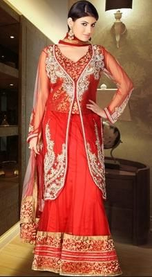 Charming Salsa Red Lehenga Choli
