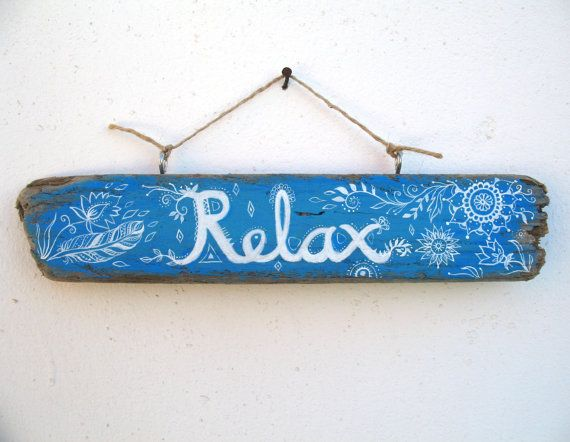 Relax Painted Driftwood Sign Plaque Painted Pattern by GeoJoyful