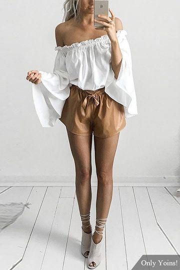 Blanco Top de gasa de hombro con mangas largas