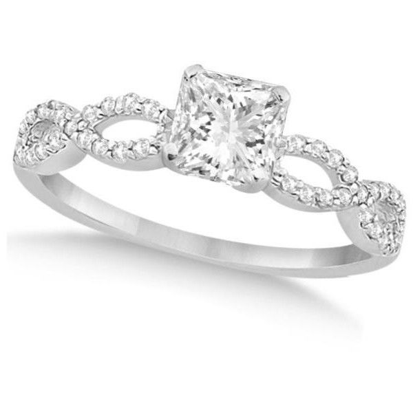 Allurez Infinity Princess Cut Diamond Engagement Ring 14k White Gold... ($18,825) ❤ liked on Polyvore featuring jewelry, rings, 14k white gold ring, diamond rings, infinity rings, engagement rings and diamond engagement rings