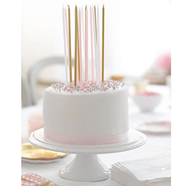These long pink white and metallic gold candles are perfect for adding height to a special birthday cake this year Each pack contains 16 long candles