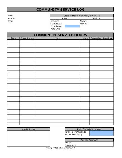 Community Service Timesheet Printable Time Sheets, free to download