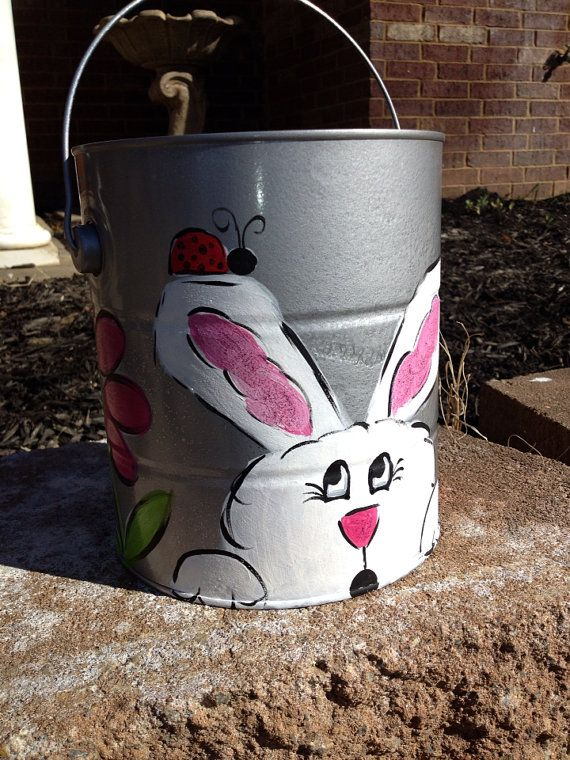 24 best painted buckets images on pinterest easter baskets easter basket easter bucket by marybethpaints on etsy negle Images
