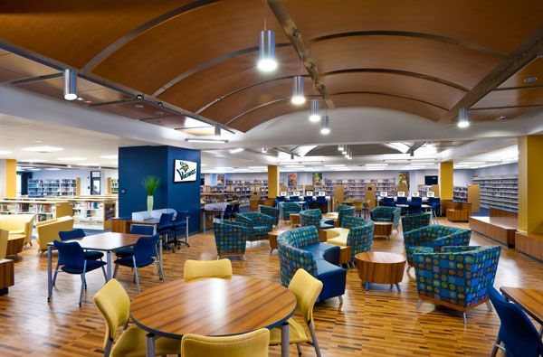 Collaborative learning space at Spartanburg (S.C.) High School - Teal with Yellow