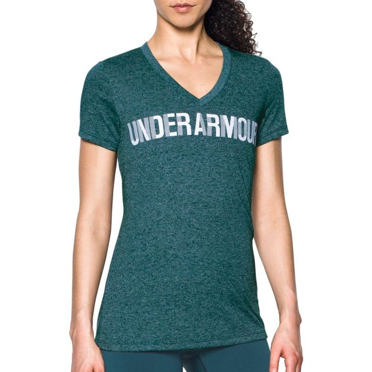 Under Armour Women's Threadborne Twist Print Graphic V-Neck T-Shirt, Size: Medium, Arden Green