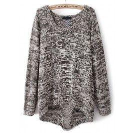 Grey Long Sleeve Ripped Knit Loose Sweater #celeb16 #sweater