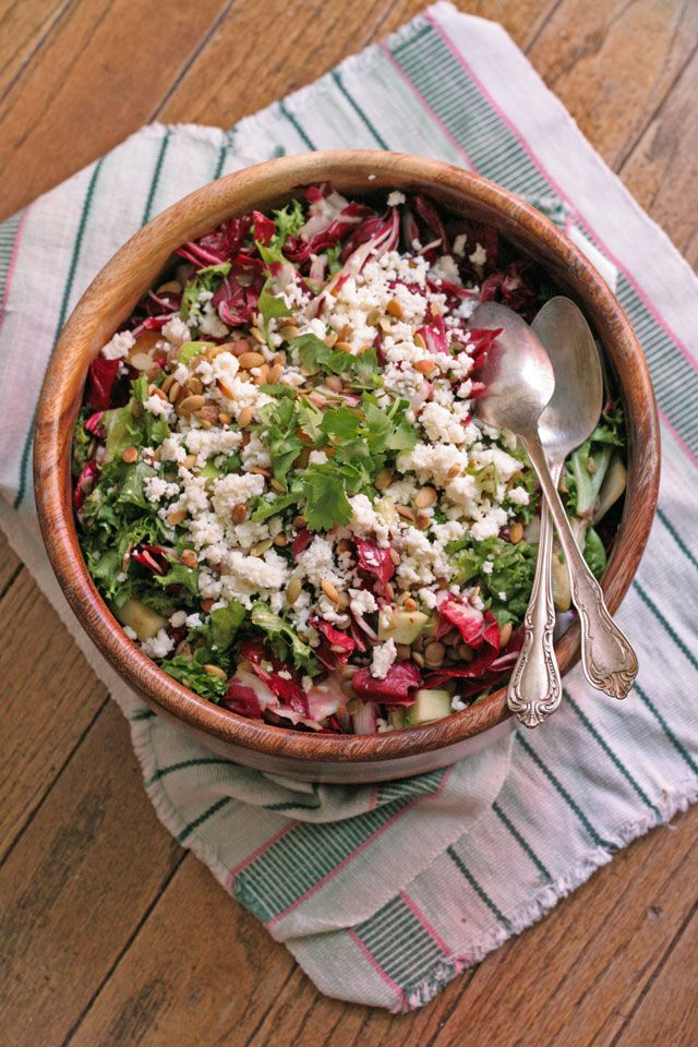 Warm Lentil, Radicchio Salad with Cacique Queso Fresco and Citrus Dressing by notjustbaked #Salad #Lentil #Healthy: Salad Lentils, Caciqu Queso, Healthy, Citrus Dresses, Warm Lentils, Radicchio Salad, Fresh Cheese, Notjustbak Salad, Weeknight Meals