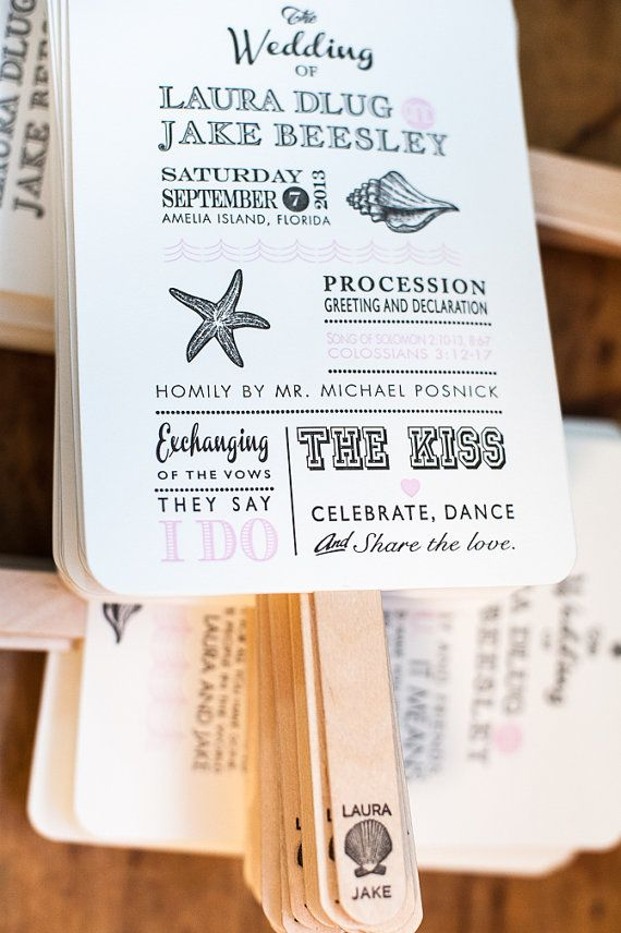 Beach Wedding Program Fans Destination by FossilLetterpress
