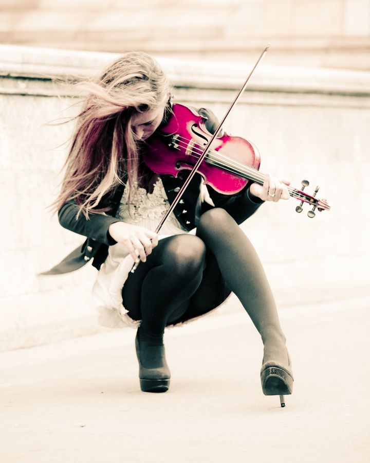 the girl with the pink violin by Photocillin Photography