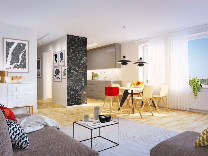 Open floor plan in Brf Blicken in Haninge.