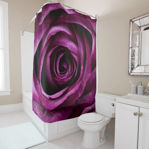 Rose Dark Plum(purple) Shower Curtain