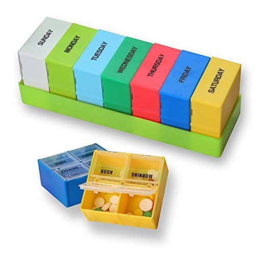 From 6.43 Sparksor Pill Box Organizer With Weekly 7 Day Am And Pm Night Reminder Mediplanner / Vitamin Case / Travel Reminder Holder / Medication Dispenser Container