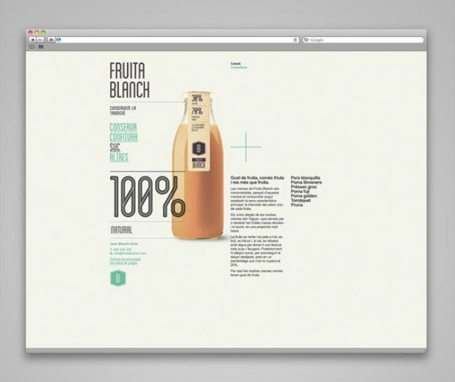 Fruita Blanch | Packaging of the World: Creative Package Design Archive and Gallery: Archives Showcase,  Internet Site,  Website, Creative Packaging Design, Design Galleries, Graphics Design, Creative Work, Creative Package Design, Creative Inspiration