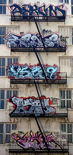 graffiti, street art, brandtrapper, fire escape, building, architechture, beautiful, photo.