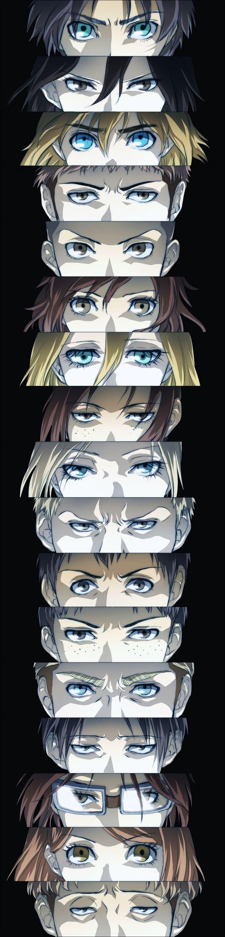 Shingeki no Kyojin - Jean, Marco, Connie, Eren, Armin, Reiner, Bertholdt, Sasha, Levi, Erwin, Auruo, Christa, Hanji, Petra, Ymir, Mikasa and Annie - Eyers