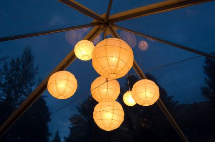 Gorgeous idea!  A night wedding with a glass room to see the starry sky and lantern lights like that would be phenomenal!