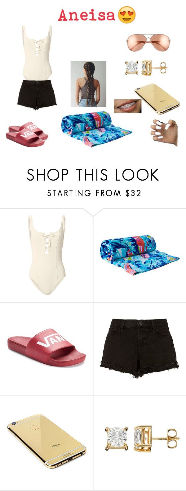 """""""Pool day outfits #12"""" by mayajoon on Polyvore featuring Solid & Striped, Lilly Pulitzer, Vans, J Brand, Goldgenie and Diane Von Furstenberg"""