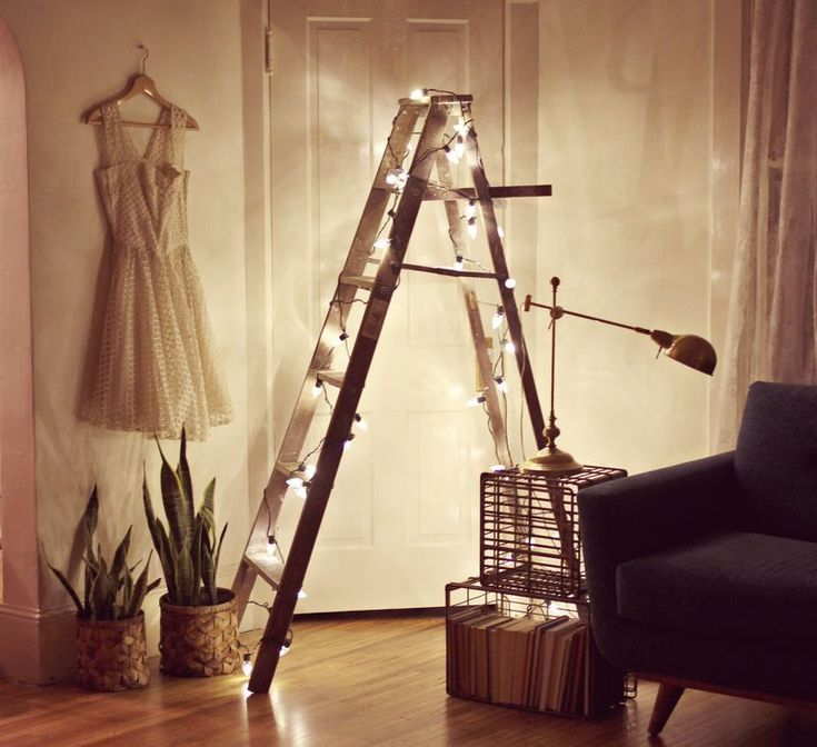 Ladder with lights- I would do this with half a ladder against the wall